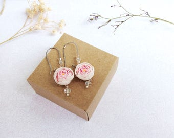 Peony earrings Pink peony dangle Wedding bridal flower earrings Peony jewelry Pink floral earrings Romantic earrings Peony flower