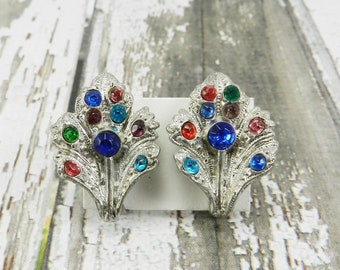 Antique Art Deco Rhinestone Earrings Leaf Design Fruit Salad Multi Color Pot Metal Silver Tone Sparklykreations
