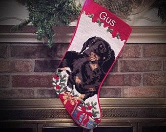 Dachshund Dog Stocking, Personalized Christmas stockings, Dog stocking, Dachshund Christmas stocking, needlepoint Christmas stockings