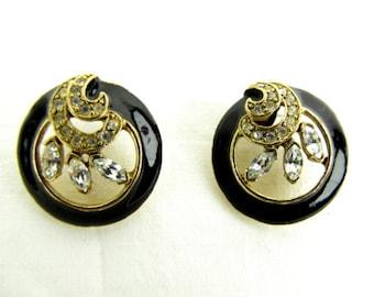 Vintage ~ 1980s ~ Earrings ~ Black Enamel ~ Rhinestones ~ Art Nouveau ~ Circle ~ Swirls ~ Pierced