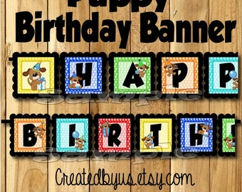 Puppy Birthday Banner puppy dog party banner dog decorations decor puppy theme 1st birthday name banner doggy sign assembled puppy party