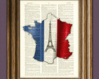 FRANCE French flag silhouette map with Eiffel Tower collage beautifully upcycled vintage dictionary page book art print