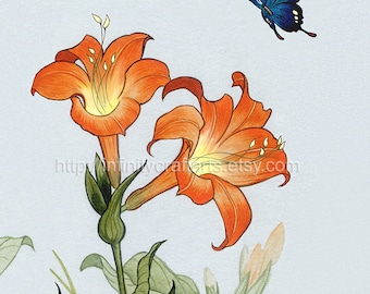 Lillies and butterfly, Flying blue butterfly, Orange lillies, InfinityCraftArts