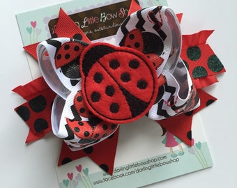 Ladybug Bow - Little Lady - red and black with sparkle polka dots and ladybug center by Darling Little Bow Shop