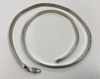 "d426 Vintage Original Sterling Silver Wide 4mm Omega Chain Necklace 16"""