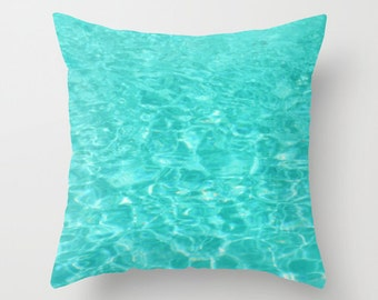 Pillow Cover, Teal Blue Pillow, Water Ripples Pillow, Swimming Pool Photo Pillow, Aquamarine Pillow, Water Throw Pillow, Beach Bedding