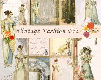 Vintage Fashion Eras printable (Digital paper) - Jane Austen