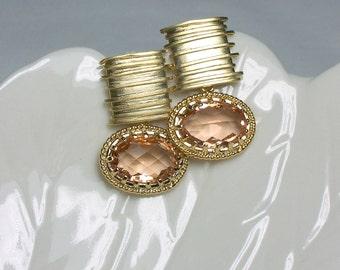 Light Peach Earrings Post Earrings Gold Earrings Modern Jewelry Gift Idea Fashion Earrings Cubic Zirconia Earrings