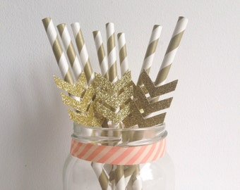 Birthday Wedding Party Gold Stripe and Glitter Gold Chevron Straws