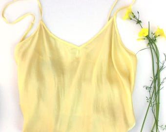 Eco-dyed Silk Camisole; Butter Yellow Oxalis; Size Large