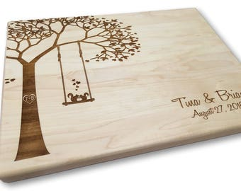 Personalized Cutting Board Squirrels on a Swing Custom Laser Engraved Wedding Present Anniversary Bridal Shower Kitchen Art Housewarming