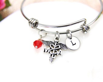 Medical Assistant Bracelet, Medical Assistant Bangle, Medical Assistant Charm, MA Medical Charm, MA Graduation Gift, MA Student Gifts, B39