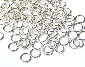 100 10mm silver jump rings