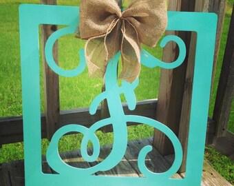 Vine initial in square frame