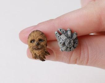 Chewbacca Earrings Millennium Falcon Star Wars earrings Chewie Porgs Han Solo Accessories Darth Vader Jewelry Star Wars The Last Jedi gift