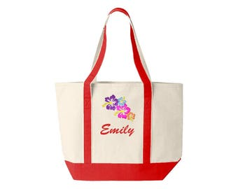 Family Canvas Tote Personalized with Flower Embroidery