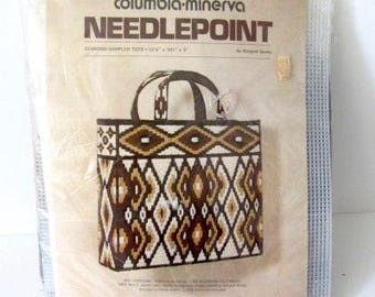 Columbia Minerva kit, needlepoint bag, needlepoint bag kit, diamond sampler tote, needlepoint tote bag, Margaret Boyles kit,1975 needlepoint