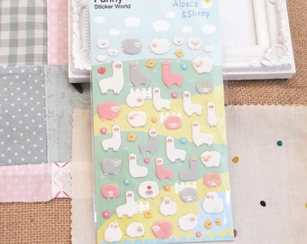 Stickers - 57pcs puffy pink, grey and white Alpaca and Sheep (Animal collection)