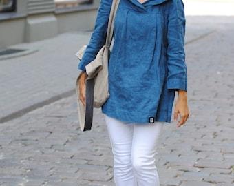 Hooded linen tunic, linen tunic tops, casual linen tunic, women linen clothing, summer linen tunic, plus size tunic
