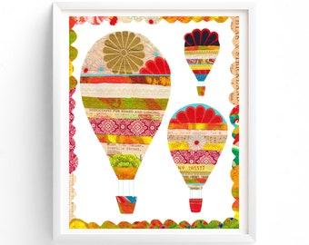 Hot air Balloons, Printable art, Hot Air Balloons Wall art, Vintage Inspired Kids Gender Neutral, Nursery decor, Travel Art