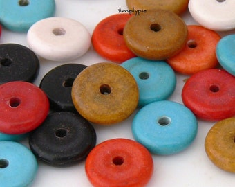 20 Ceramic Mixed Spacer Beads 10mm Turquoise Red Black Brown White