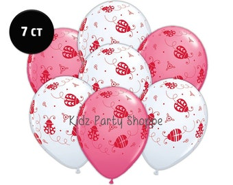 7ct Ladybug Latex BALLOONS Lady Bug Birthday Party Decorations Supplies Photo Prop Supply