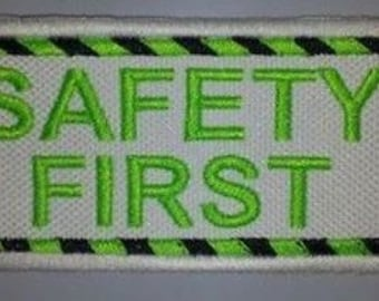 U Pick Color Combo Embroidered Sew On Patch - SAFETY FIRST