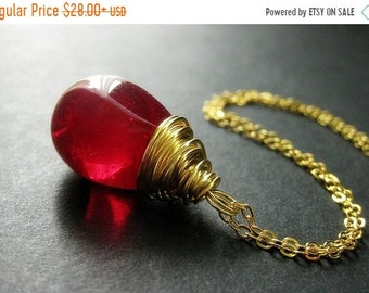 MOTHERS DAY SALE Extra Large Red Solitaire Necklace. Red Teardrop Necklace Wire Wrapped in Gold. Handmade Necklace.
