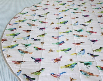 Round Play Mat Rainbow Birds Linen Wholecloth Quilt Circle Rug for Baby Tummy Time Multicolor Songbirds & Bees on White. Ships in 4-6 wks