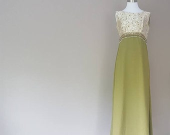 S / Evening Gown / Gold Brocade Bodice and Green Satin and Chiffon Skirt w/ Beaded Embellishment at Waist / Small