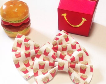 French Fry Bow | Handmade Fabric Hair Clip | Headband Bows