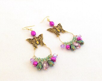 butterfly earrings, butterfly hoop earrings, golden butterfly jewelry, gypsy earrings, niobium, bohemian earrings