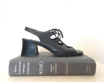 90s black leather strappy sandles, chunky heeled sling back shoes, size 6.5 - vintage -