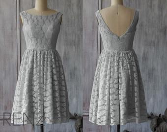 Lace Light Gray Bridesmaid Dress, Gray Lace Dress, Short Wedding Dress, Formal Dress, Backless Party Dress, Prom Dress Knee Length (FL005)