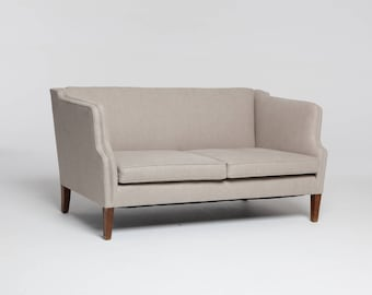 Danish Mid-century 2 seater sofa / loveseat in natural linen