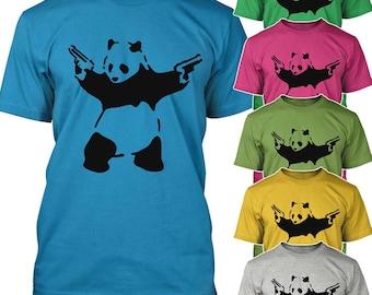 Banksy Panda with Guns T-shirt Cute Panda second amendment funny Tee Shirt