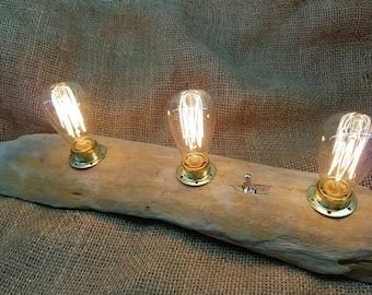 Bois avec 3 ampoules E14 Edison la lampe à incandescence, commutateur d'allumage, idée cadeau
