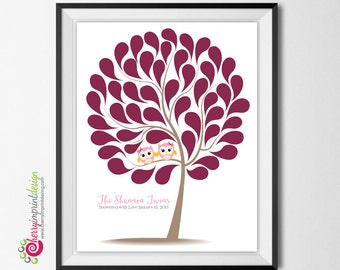 Twin Owl Girl Tree Baby Shower or Birthday Guest Book DIY Printable (Digital File)
