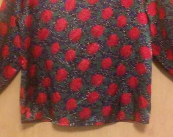 80s Authentic Argenti Flower Pattern Blouse/Blouse/Flower Blouse/ Flower Shirt/Argenti