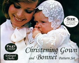 Filet Crochet Christening Gown Pattern Baptism Bonnet Crochet Pattern Baby Dress Pattern PDF B202