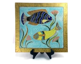 Egyptian Fish-Raku-Wall Hanging- Hand Carved-Pottery