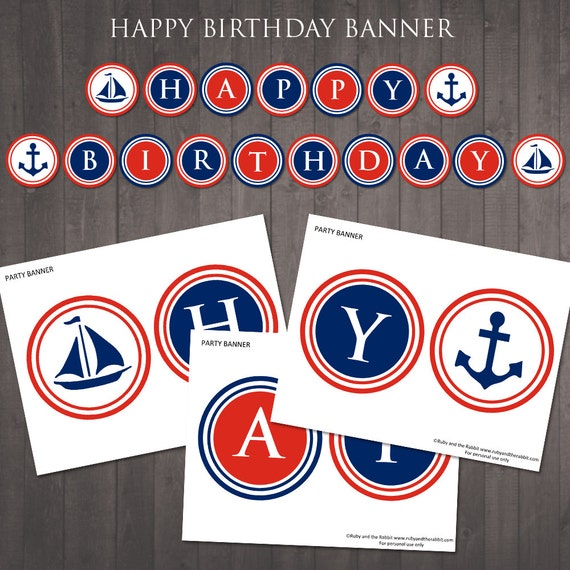 PRINTABLE Nautical 'happy Birthday' Banner Instant