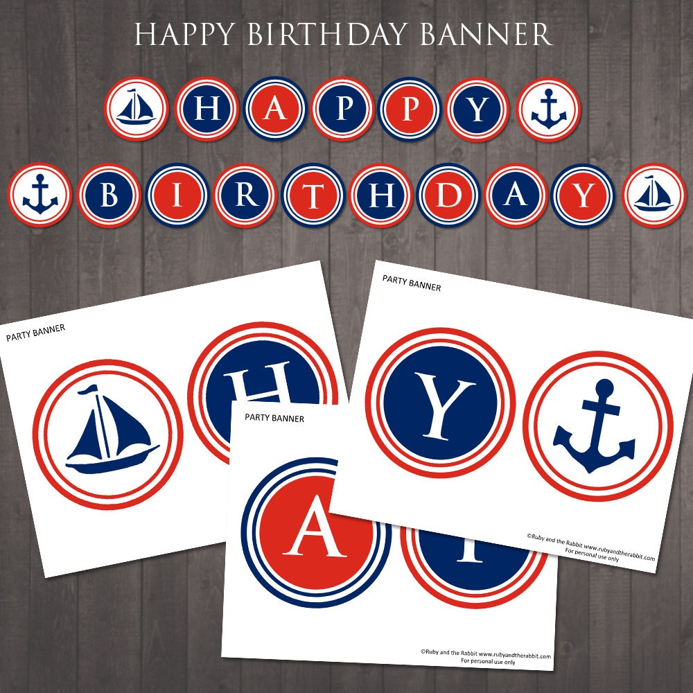 PRINTABLE nautical happy birthday banner Instant