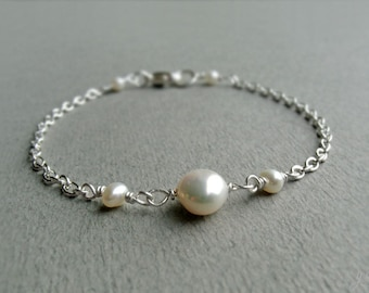 A-Grade Freshwater Pearl Sterling Silver Bracelet, Ivory White Pearl, Dainty Minimalist, June Birthstone, Wedding Jewellery, Gift for Her