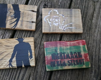 Freddy Krueger - A Nightmare On Elm Street Rustic Reclaimed Pallet Wood Coasters