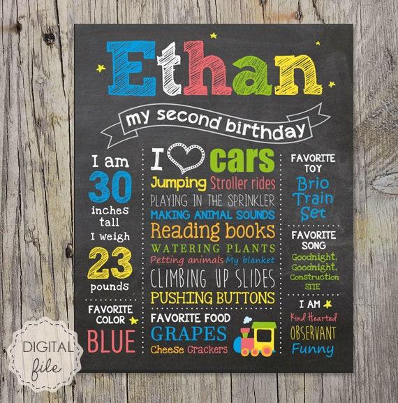 Second Birthday Chalkboard Sign Little Men 2nd Birthday
