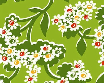 By The HALF YARD - Mimosa by Another Point of View for Windham Fabrics, Pattern #39988-3 Bursting Flowers on Lime Green, White Flowers