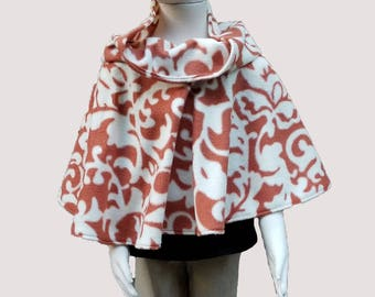 Child's Orange and Cream Poncho with Cowl Neck (size: 4-6 year old)