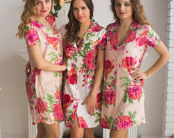 Bridesmaids Shirts in Fuchsia Large Floral Blossom Pattern - Short Sleeved Notched Collar Style