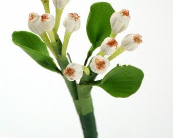 Handmade Miniature Polymer Clay Flowers Supplies Mistletoe 3 bunches
